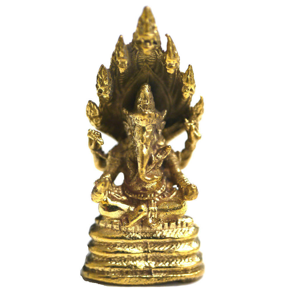 インドの神様ガネーシャの置物 ブラスバージョンミニ11/エスニック/アジアン雑貨(ポスト投函配送選択可能です)