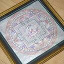 手書きのチベタン タンカ 額装 薬師如来曼荼羅 1点物その11/密教 アジアン雑貨