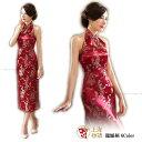 女性 チャイナドレス ローング丈 中華風 ワンピース ホルダーネック 肩出し パーティー ドレス 刺繍 お呼ばれドレス …
