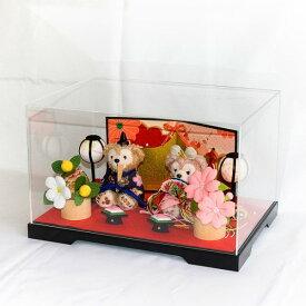 【送料無料】【雛人形】贈り物に♪ぼんぼり&屏風付き・ストラップサイズぬいぐるみ・お雛様ペア飾り(人形ケース付き)【グッズ】*hina-bonbori-6