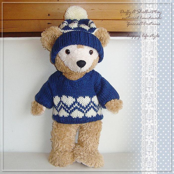 ダッフィー・シェリーメイSサイズ43cm用コスチューム★手編みニット(ネイビーハート)・knit-30【洋服】