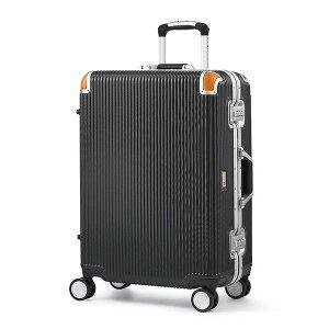 □SWISS MILITARY 軽量 スーツケース/旅行カバン 〔64L ブラック〕 4&#12316  6泊用 ポリカーボネード TSAロック 4輪ダブルキャスター スイスミリタリー SM-C624