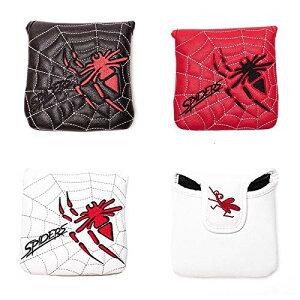 ヘッドカバー パターカバー マレット用 オデッセイ2ボール・テーラーメイド スパイダーパターに対応 スパイダー模様 白・黒・赤