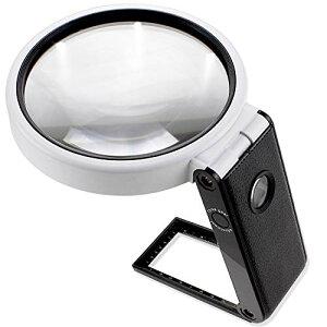 PhoenixLopue 手持ち スタンドルーペ【倍率3.5倍&25倍】2種類レンズ/LEDライト5灯/ブラックライト 付き<長期保証45日間>拡大
