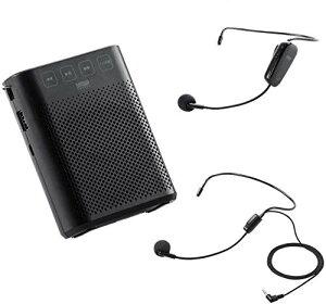 サンワダイレクト ワイヤレス ハンズフリー拡声器 小型 10W 有線マイク付 USB充電式 2人同時使用OK ラジオ搭載 400-SP079