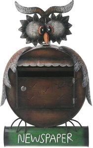 郵便ポスト おしゃれ 郵便受け フクロウ メールボックス 鍵付き 幅44.5×奥行16.5×高さ63.5cm フクロウ