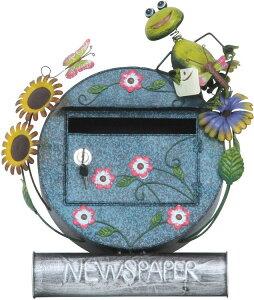 郵便ポスト おしゃれ 郵便受け カエル メールボックス 鍵付き 幅49.5×奥行17×高さ55.8cm カエル