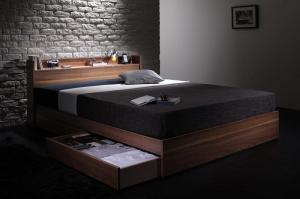 セミダブルベッド 収納付き マットレス付き 国産ポケットコイル ウォルナット柄・棚・コンセント・収納ベッド