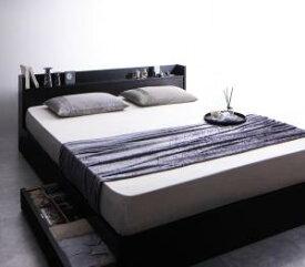 クイーンサイズベッド 収納付き マットレス付き ポケットコイル(レギュラー) 棚・コンセント・収納ベッド