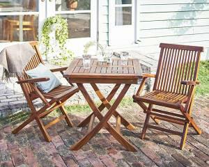 ガーデンテーブルセット おしゃれ 2人用 3点セット(正方形テーブル70cm+肘有チェア2脚) 折りたたみ チーク天然木 木製