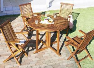 ガーデンテーブルセット 4人用 おしゃれ 5点セット(テーブル+チェア×4) チーク天然木 ワイド 丸型 円形 W110 チェア肘有