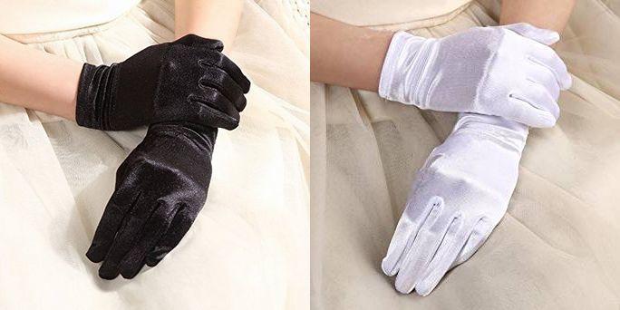 送料無料 フォーマル ストレッチ サテン ショート手袋 光沢 フリー サイズ (ブラック、ホワイト) サテン手袋 イベントグローブ 光沢グローブ ウェディンググローブ ウエディンググローブ ウェディング手袋 光沢手袋