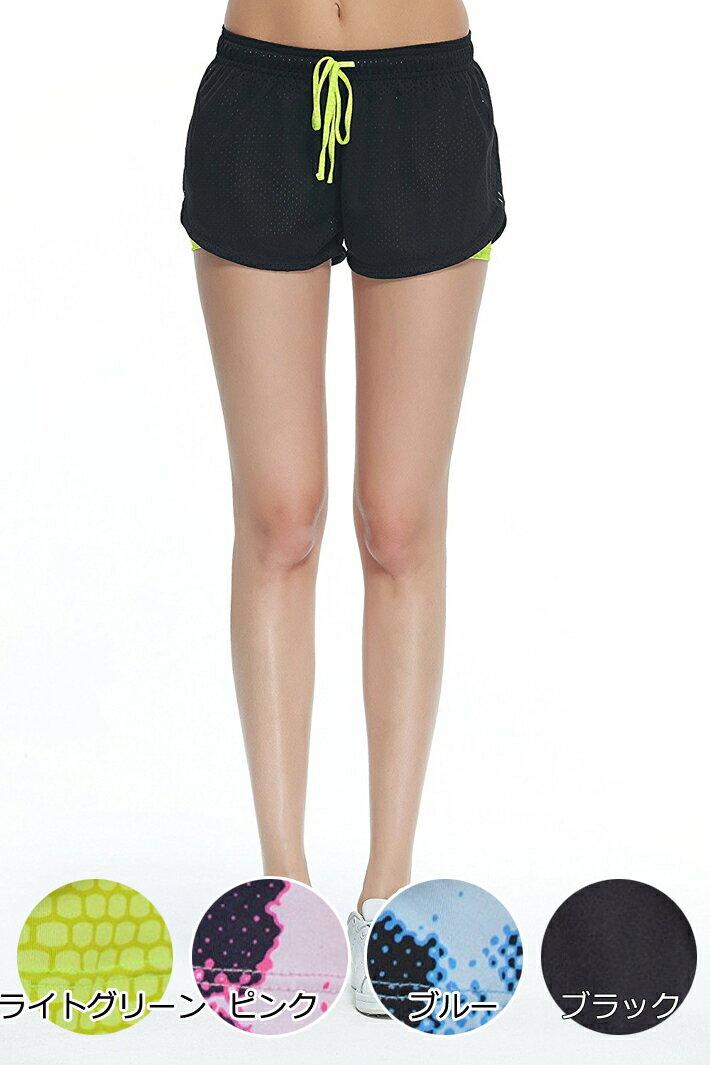 レディース メッシュ フィットネス タイトパンツ ショートパンツ フィットネスパンツ 伸縮性 通気性 吸汗速乾性 短パン ヨガ ダンス ランニング スポーツ 旅行など レギンス付き フィットネス ジョギング ウォーキング アウトドア ブラック 黒
