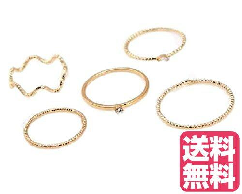 送料無料 おしゃれ シンプルな 装飾付き セットリング ミディリング ファランジリング 5点セット ゴールド 五組セット 指輪 金色
