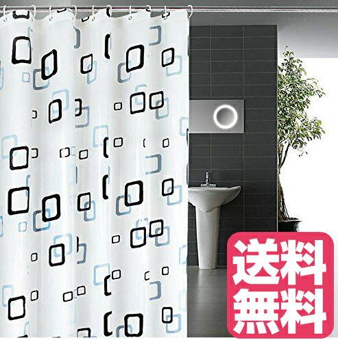 シャワーカーテン 防水 防カビ 加工 浴室 カーテン 風呂カーテン 防水 間仕切り 遮像 リング付属 厚手 取り付け簡単 180×180cm チェック柄 おしゃれな柄 シンプル 風呂場の仕切り ユニットバス 布の質 生地が良い 撥水 デザイン可愛い