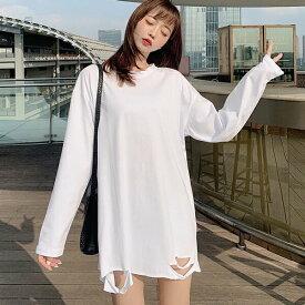 白tシャツ レディース 大きいサイズ 長袖 大人可愛い 長袖Tシャツトップス ホワイト Tシャツ ロングTシャツ シャツ レディース ロング おしゃれ シンプル 学生df097y6y6f4