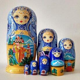 【期間限定!マスクプレゼント中】マトリョーシカ ロシア 人形 オブジェ 7個組 20cm ブルー 工芸品 木製品 ギフト プレゼント かわいい 人形 インテリア 手描き 北欧雑貨 おしゃれ おもちゃ 飾り 誕生日 子供 ハロウィン クリスマス ja012h2h2h2/代引き不可