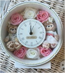 ホワイトデーにいかが?ディズニーシー★ダッフィー&シェリーメイがついた時計。掛け時計としても、置時計としてもつかえます。プレゼントにおすすめ!プリザーブドフラワー結婚祝い