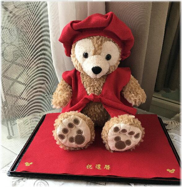 Sサイズにぴったりな還暦用赤いちゃんちゃんこと帽子と敷物☆有料にてぬいぐるみ付きもOK