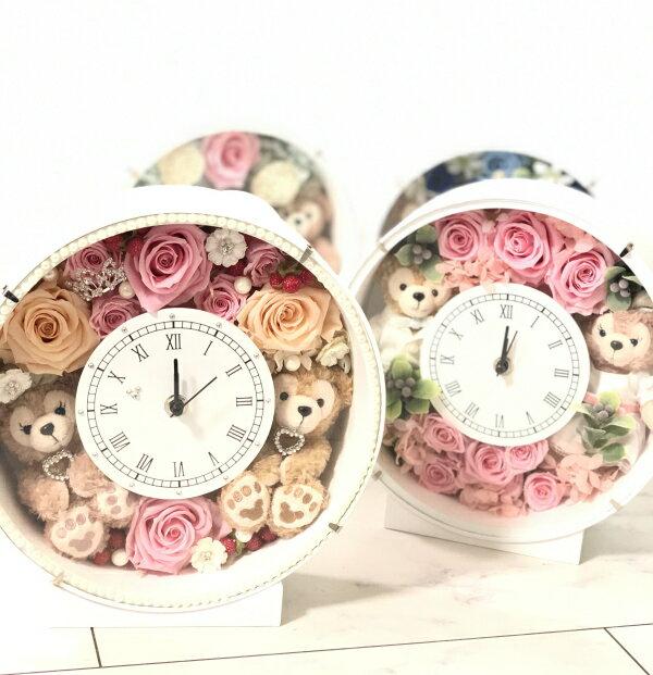 結婚祝いにいかが?ディズニーシー★ダッフィー&シェリーメイがついたデザインおまかせ時計。置時計。プレゼントにおすすめ!プリザーブドフラワー結婚祝い
