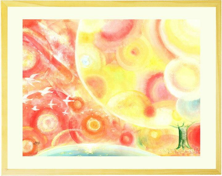 おしゃれな癒しの絵画 インテリアアート「縁(えん) 〜すべての出逢いに感謝〜」■LLサイズ・ポエム付■リビングに飾る絵画 事務所 店舗 インテリア絵画 病院 額入り アートポスター 北欧 オシャレ 木の絵 額付き 大きいサイズ 優しい絵画 【あす楽対応】