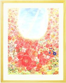 花 絵画 インテリア 「bloom」■Sサイズ■ 風水 玄関に飾る絵画 額入り リビング ニッチに飾る 壁飾り 新築祝い プレゼント 友人 おしゃれ 壁掛け 絵 癒しグッズ 花の絵 明るい 優しい アート アートポスター 額付き フレーム 癒し 額絵 小さい