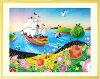 絵画、海、インテリア「輝きの朝」壁掛け玄関リビング部屋店舗事務所おしゃれかわいいプレゼント明るい絵