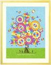 花 絵画 額入り インテリア アート「幸せの花束(虹色)」■Mサイズ・ポエム付■ 花の絵画 おしゃれ 壁掛け 絵 玄関 玄…