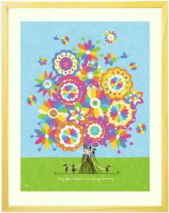 絵画 インテリア アート「幸せの花束(虹色)」■Mプラスサイズ・ポエム■ 絵画 壁掛け 絵 アートポスター おしゃれ 風水 玄関 壁飾り 絵 美容室 幼稚園 店舗 事務所に飾る絵画 額入り リビン