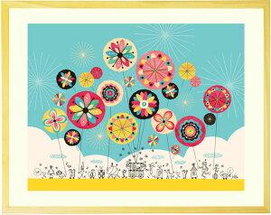 絵 額入り インテリア 幸せアート 「幸せのパレード」■Mサイズ・ポエム■ 風水 玄関 おすすめ 壁掛け 絵 おしゃれ 玄関に飾る絵画 リビング 部屋 アートポスター フレーム付き ポスター 北