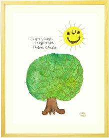 絵画 インテリア 「Laugh together 〜 一緒に笑おう 〜」■Lサイズ・ポエム■玄関 リビング 部屋 幸せ 楽しい 笑顔 太陽の絵 木 アート 明るい絵 かわいい絵画 新築祝い 友人 【あす楽対応】