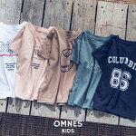 【OMNES】キッズ綿麻カットプリント半袖TシャツトップスカジュアルプリントTシャツ100cm110cm120cm130cm140cmHAPTICハプティック