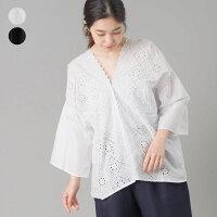 フレアスリーブ刺繍レースプルオーバーレディースブラウスシャツフリーサイズカジュアルコットン100%綿HAPTICハプティック