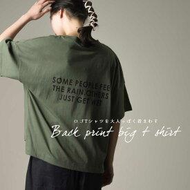 レディース Tシャツ フリーサイズ 【marle】フロントポケット付バックロゴビッグT カジュアル トップス 半袖 五分袖 HAPTIC ハプティック