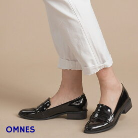 【OMNES】パテントローファー レディース シューズ 靴 22.5〜25cm レインシューズ エナメル 低ヒール スリッポン シューズ フラットシューズ PUレザー ブラック ホワイト HAPTIC ハプティック