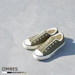 レディーススリッポンスニーカーボアスリッポン【OMNES】ボア付キャンバススリッポンボアスニーカー防寒靴シューズHAPTICハプティック