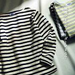 レディースメンズTシャツカットソー【OMNES】ユニセックスバスク生地ボートネック長袖Tシャツボーダー無地バスクシャツバスクTシャツHAPTICハプティック