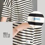 レディースTシャツカットソー【OMNES】バスク生地ボートネック半袖Tシャツボーダー無地バスクシャツホワイトブラックナチュラルネイビーワイドボーダーHAPTICハプティック
