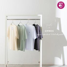 【yuki×HAPTIC】OMNES ユニセックス バックラベル ポケット付き半袖Tシャツ ROOMコラボ レディース メンズ クルーネック 刺繍ロゴTシャツ UNISEX ユキ×ハプティック