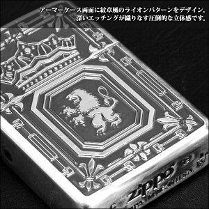 ZIPPO深彫アーマーライオン/アーマーケース162番/王冠/紋章/エンブレム/両面加工/かっこいい