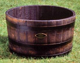 樹齢100年のオーク使用ウィスキー樽プランター 椀型70GB-7240※代引不可※