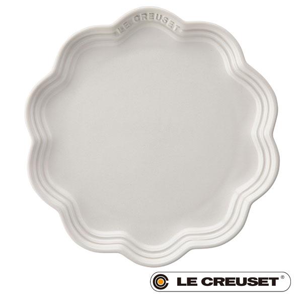 【 全品10%OFFクーポン 】 ル・クルーゼ LE CREUSET ストーンウェア フリル・プレート ベーカリー 22cm ホワイト Stoneware lecsto 18 ベーカリー 限定