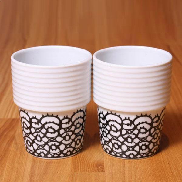 【 全品10%OFFクーポン 】 ロールストランド フィリッパ コー コーヒー マグ 2個セット 310ml Lace black Filippa K rorswe Rorstrand 【ギフト袋 対象】