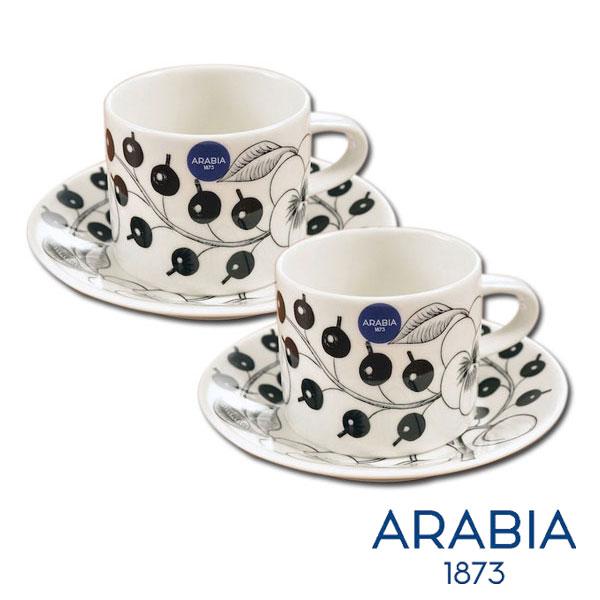【 全品5%OFFクーポン 】 アラビア パラティッシ ブラック カップ&ソーサー 180ml 2客セット(BR2) 16NL-02 【ギフト袋対象、ギフトBOX対象、熨斗対象】