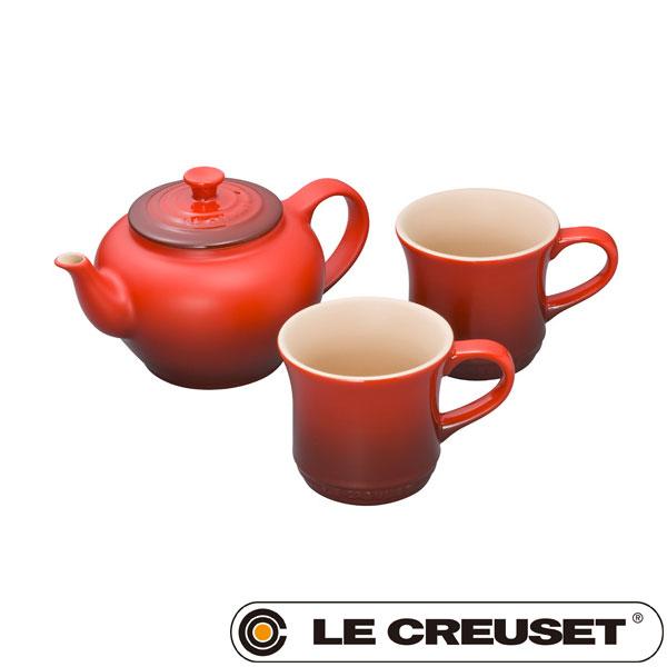 ル・クルーゼ LE CREUSET ストーンウェア ティーポット&マグ (SS) (2個入り)セット 600ml チェリーレッド Stoneware lecsto(BR0) 【ギフト袋対象、ギフトBOX対象、熨斗対象】
