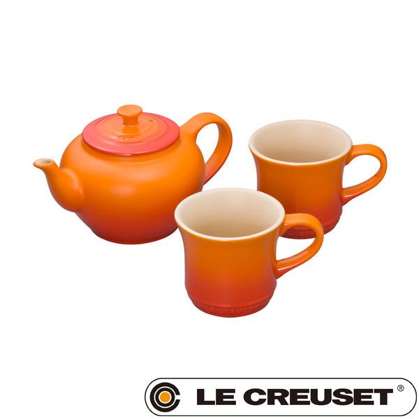 ル・クルーゼ LE CREUSET ストーンウェア ティーポット&マグ (SS) (2個入り)セット 600ml オレンジ Stoneware lecsto(BR0) 【ギフト袋対象、ギフトBOX対象、熨斗対象】