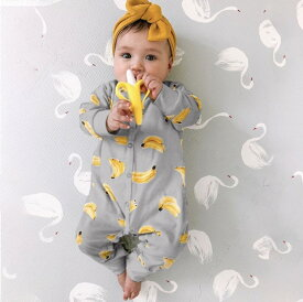 送料無料 バナナ ロンパース バナナ柄 バナナロンパース 子供服 ベビー服 女の子 男の子 コットン おしゃれ 赤ちゃん 新生児 ベビー 綿 コットンロンパース 可愛い 出産祝い プレゼント 長袖 春 春夏 ボタンロンパース 高品質