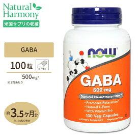 GABA(ギャバ) +ビタミンB6 500mg 100粒 NOW Foods(ナウフーズ)