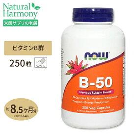 ビタミンB-50 250粒 約8ヶ月分 [お得サイズ] B群11種 葉酸 ナイアシン ビオチン パントテン酸 PABA コリン イノシトール ベジカプセル NOW Foods(ナウフーズ)