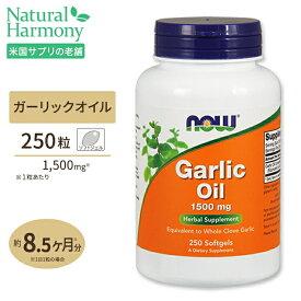 ガーリックオイル 1500mg 250粒《約8ヵ月分》NOW Foods(ナウフーズ)ソフトジェルオメガ3 オメガ6 健康 サプリメント ダイエット